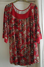 Ladies Old Navy (GAP family brand) red pattern tunic style top size XL