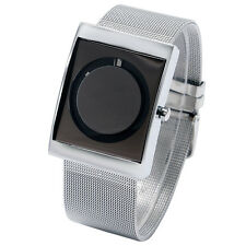 Silver Cool Metal Iron Net Mesh Band Circle Quartz Wrist Watch Mens Unisex PAIDU