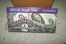 2013 $2 Single Note Collection Two Dollar Federal Reserve Bank of MINNEAPOLIS