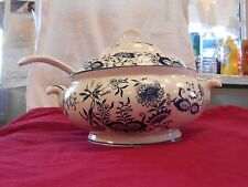 ENESCO 3 Piece SOUP TUREEN LID AND LADEL  Blue and White Transferware JAPAN 12 ""