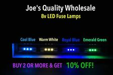 (100)WARM WHITE or COOL BLUE 3X LED 8V FUSE LAMPS 2226 SX-535-METER- RECEIVERS