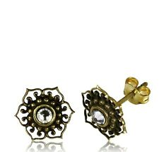 BRASS EAR STUDS EARRINGS CZ CRYSTAL AFGHAN DOTS STYLE TRIBAL BRASS POST YOGA