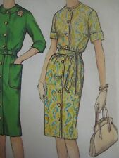 Vintage 60's Simplicity 4559 ONE PIECE FRONT-BUTTON DRESS Sewing Pattern Women