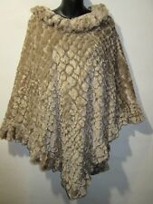 Poncho Fits S M L XL 1X Tan Crushed Velvet Lined Wrap Jacket Textured NWT G465