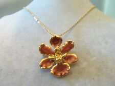 A22K GP Metallic PINK Enamel Accented Gold FLOWER Pendant/Brooch Necklace 14N675