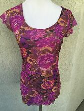SWEET PEA Large Blouse Top Floral Cap Sleeve