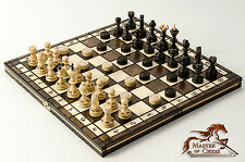"""DRAUGHTS (CHECKERS) + """"PEARL"""" WOODEN CHESS SET ! BEAUTIFUL HANDICRAFT 35X35cm!!!"""
