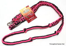 Tough-1  7' Knotted Cord Pink and Black Roping Reins Horse Tack Equine 54-915