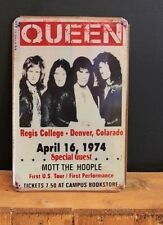 Queen April 16.1974 Concert Denver Big Vintage Style Retro Metal Sign( 20x30cm )