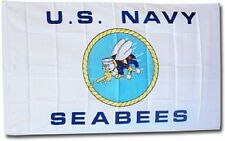 Navy Seabees US Navy White 3x5 Flag Super Poly indoor/outdoor