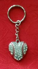 "LARGE BASEBALL HEART WITH CLEAR  CRYSTALS KEYCHAIN - 3"" SPORTS - SOFTBALL"