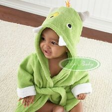 Baby Boy Girl Green Monster Costume TERRY Towel Hooded Bath Robe 0-2 years