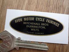 AVON MOTORCYCLE FAIRINGS Mitchenall Bros Ltd OVAL STYLE STICKER Scooter Brothers