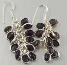 AMETHYST QUARTZ & 925 Sterling Silver Hook Drop Dangle Earrings 58mm - 88s