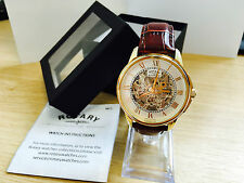 1 ROTARY MENS AUTOMATIC SKELETON WATCH BROWN LEATHER STRAP ROSE GOLD GS03862/01