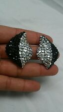 Stunning vintage Richard Kerr black white swarovski crystal   clip on earrings
