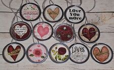 "10 Assorted Valentine LOVE Feb 14 Metal Rim 1 1/4"" Hang Tags Gift Ties Mini Tree"