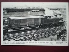 POSTCARD RP LONDON TRANSPORT TERRIER LOCO NO L44 & METROPOLITAN MILK VAN NO 3