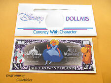 DISNEY NOVELTY DOLLAR*1951  ALICE IN WONDERLAND 2010* +A DISNEY DOLLAR ENVELOPE