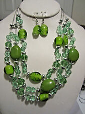 Three Layers Multi Green Lucite Bead Necklace earring Set