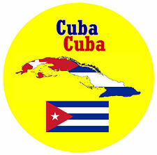 CUBA - MAP / FLAG - ROUND SOUVENIR FRIDGE MAGNET - BRAND NEW - GIFT