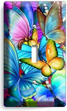 COLORFUL BUTTERFLIES SINGLE LIGHT SWITCH WALL PLATE BABY ROOM NURSERY ART DECOR
