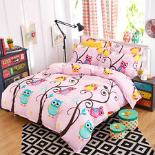 Kid Love Queen Size Bed Set Pillowcase Quilt Duvet Cover Lovely Pink Owls