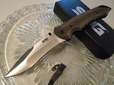 "SOG Kiku Matsuda Large Pocket Knife KU-1011 Tan Micarta Aus-8 2 Clips 10"" Open"