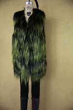 Adrienne Landau Fur Vest Gilet Coat Jacket Shaggy Boho Hippie Black Green M L