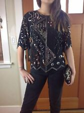 Vintage Black Silver Gold 100% Silk Beaded Sequin Evening Blouse Glam Formal Top