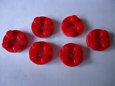 LEGO 2 x 2  RED ROUND PLATE WITH AXLE HOLE x 6 PART 4032