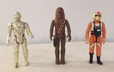 3 LOT Vintage Star Wars figures 1977-78 C-3PO, Chewbacca, X-Wing Pilot