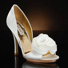 NIB Badgley Mischka RANDALL bridal satin D'orsey heels sandals open toe shoes 10