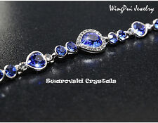 NEW 2017 Made with Swarovski Heart Sapphire Crystal 18K Gold Plated Bracelet