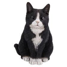 BRAND NEW SITTING BLACK & WHITE CAT GARDEN ORNAMENT