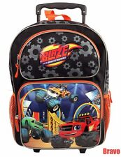 "2016  Blaze And The Monster Machines BOYS 16"" LARGE ROLLING BACKPACK ROLLER BAG"