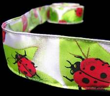 "2 Yds Ladybugs Lady Bugs Leaves Satin Ribbon 1 1/2""W"
