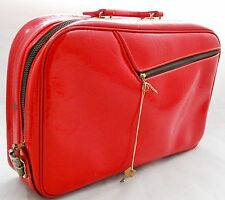 Vintage RED Patent Suitcase - Overnight Travel Bag Childs 1960s Japan with KEY