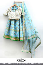 DESIGNER PARTY WEAR SOOTHING BLUE COLOR BANGALORY SILK UNSTITCHED LEHENGA CHOLI