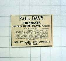1967 Paul Davy, Clockmaker, Pendrea House Gulval Penzance