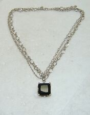 """BLACK GLASS STONE WITH MULTI-CHAIN NECKLACE 16 1/2"""" LENGTH N538-S"""