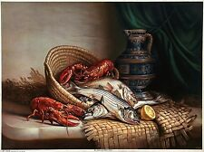 ANTIQUE & XRARE 1903 Chromolitho II FISH & LOBSTERS Muller, Luchsinger & Co. NY