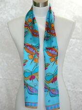 New 100% Silk Oblong Scarf Art Painting Dragonfly Blue