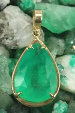 Be Royal! 15.03cts Colombian Emerald Pear Shape Solitaire Pendant 14k