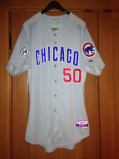 2015 Chicago Cubs Game Issued Majestic Away Jersey #50 MLB Authenticated Size 48