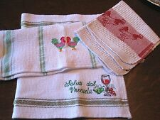 Lot of 3 Vintage TEA DISH TOWELS DISH CLOTH-ROOSTERS, WINE, VENEZUELA-RED GREEN