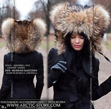 NEW FASHION STYLE RUSSIAN RACCOON FUR HOOD HAT - EXCLUSIVE DESIGN