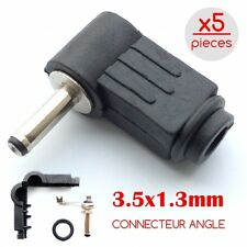 5 Pcs 3.5x1.3mm Angle DC Power Male Plug Adapter Connector Black Plastic Handle