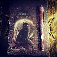 Witches Spell Book With Matching Pen Black Cat Full Moon Witchcraft Supplies