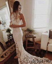 Modest Halter White/Ivory Full Lace Mermaid Wedding Dress Bridal Gown Custom